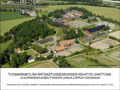 Tuomarinkylän ratsastuskeskuksen kehittämistoimikunnan esitys Horse Fair -messuilla