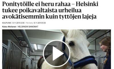 """Liikuntalautakunnan vastine HS:n artikkeliin """"Ponitytöille ei heru rahaa – Helsinki tukee poikavaltaista urheilua avokätisemmin kuin tyttöjen lajeja"""""""